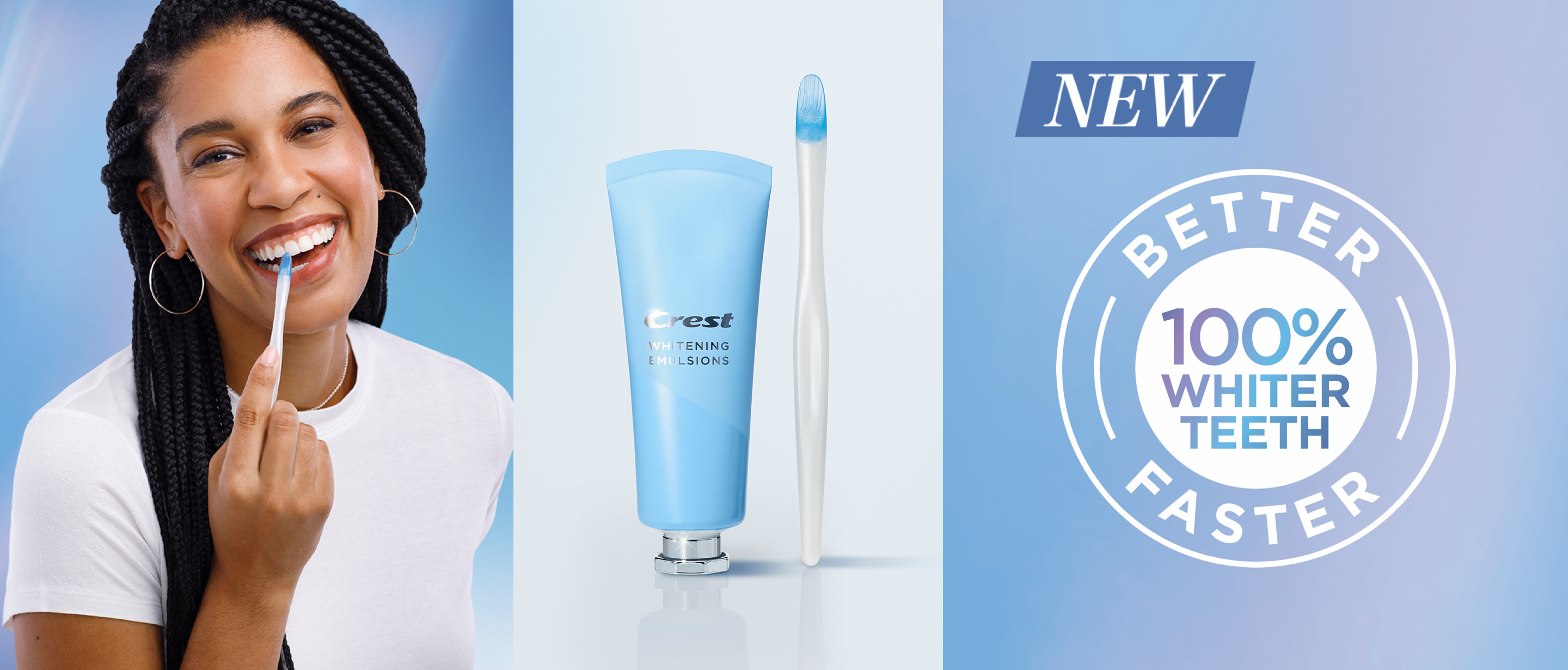 100% Whiter Teeth with Crest Teeth Whitening Emulsions with wand applicator